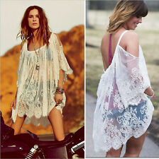 Sexy Women Fashion Beach Lace T-Shirt Blouse Top Lace Mini Dress Casual Smock