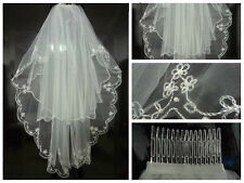 New 2T White ivory pearl Bridal veil Wedding Veil + Comb