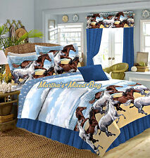 COASTAL PONY HORSE BEACH WESTERN BLUE/BROWN 6-8P COMFORTER~SHEETS~SHAMS~BED SET