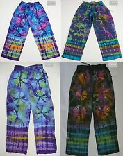 New Tie Dye Cotton Multi-Coloured Pants (Gypsy Hippy/Boho) w Elastic Waist Band