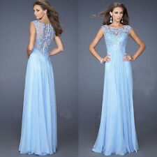 Lady Sexy Chiffon Long Lace Ball Gown Evening Bridesmaid Prom Party Formal Dress