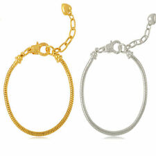 Gold / silver Plated Lobster Clasp Snake Chain Bracelet Fit European Charms Bead