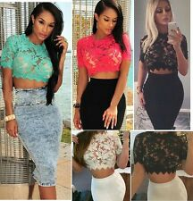 Sexy Women See Thru Sheer Lace Embroidered Cropped Top Tee Shirt Blouse Clubwear