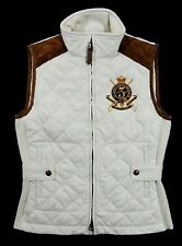 Ralph Lauren Bomber Hagan Barn Suede Polo Equestrian Crest Quilted Vest Jacket