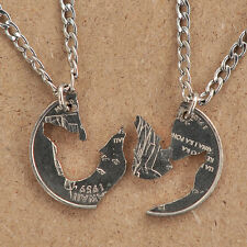WOLF NECKLACE HOWLING WOLVES FRIENDSHIP BFF HAND CUT COIN INTERLOCKING QUARTER