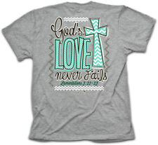 Christian T-Shirt NEVER FAILS Cherished Girl Kerusso Womens BRAND NEW