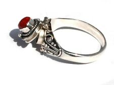 New 925 Sterling Silver Poison Ring with Red Coral in the Center