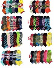 6; 12 Pairs Women's Mamia Multi-Color Fancy Design Ankle/Low cut Socks Size 9-11