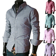 2015 Luxury Grid Shirts Man Mens Casual Dress Shirts Slim Fit Formal Shirts Tops