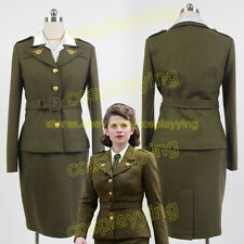 Avengers Captain America Agent Peggy Carter Uniform Olive Green Cosplay Costume