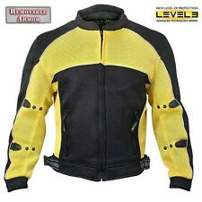 Mens CF-509 Mesh Lightweight Black Yellow Level-3 Armored Motorcycle Jacket