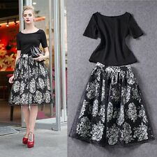 New Fashion Women Casual Vintage Goth Floral Dress Calf Length Ladies Clothing