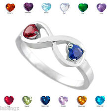 Sterling Silver Infinity Dual Heart CZ Birthstone Ring (Size 5)