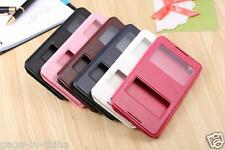 Double Window Kickstand Folio Flip PU Leather Cover Case For Huawei HTC TEL
