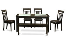 6 PC kitchen table with bench-Glass Top table and 4 kitchen chairs plus bench