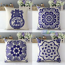 Pillow Case Cotton Linen Cushion Cover Decorative Square Home Throw Sofa Flower