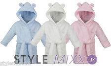 Baby Boys Hooded Supersoft Fleece Bath Robe With Ears Girls Pink Dressing Gown