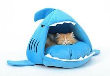 New Fashion Cozy Dog Puppy Cat Blue Shark House for Small-Medium Pets Bed