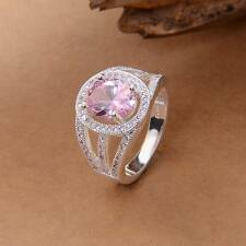 Fine Rose Quartz 925 Sterling Silver Women Fashion Party Ring