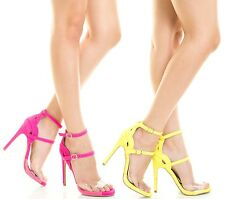 Qupid Peep toe sandal High Heel Pump Black Pink Yellow Glee