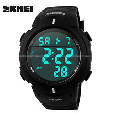 SKMEI Mens Women Digital Light Date Alarm Waterproof LCD Military Sports Watch