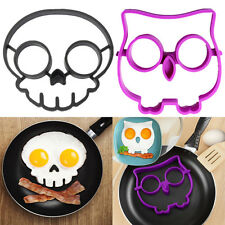 Breakfast Pancake Egg Ring Mold Silicone Funny Skull Owl Side Up Fried Mould