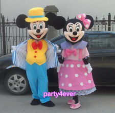 【SALE】 NEW NAVY BLUE MICKEY AND PINK MINNIE MOUSE MASCOT COSTUME ADULT SIZE