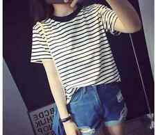 Cotton Blend fashion Short-sleeved t-shirt blouses striped shirt TEE P5003