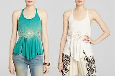 FREE PEOPLE WOMEN'S  RIBBED CROCHET LACE SUNDIAL TANK TOP SHIRT IVORY SHAM