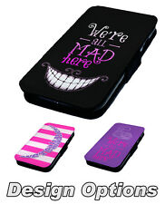 We're All Mad Here - Printed Faux Leather Flip Phone Cover Case Alice Inspired