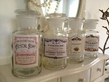 Decorative Vintage Style Glass Bottle Perfume Pots Aged French Labels & Lid