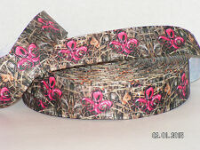 "7/8"" Pink Fleur de Lis Camo Mossy Oak Inspired Grosgrain Ribbon 1 Yd or 5 Yards"
