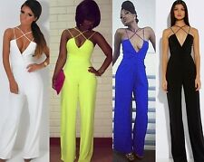 Women Sexy Plunge V Neck Strap Backless Wide Leg Loose Palazzo Jumpsuit Romper A
