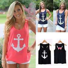 Fashion Womens Summer Anchor Vest Top Sleeveless Blouse Casual Tank Tops T-Shirt