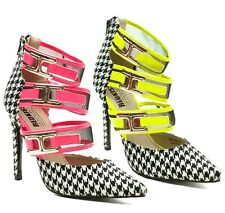 Red Kiss Houndstooth Pointy toe Pump Mesh High Heel Women's Shoe Pink Red Yellow