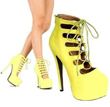 Glaze Yellow Strappy Pump Lace up Platform Sandal High Heel Women's Shoes Nelly