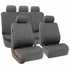 Tan Gray & Black Color PU Leather Car Seat Covers Fits Most Vehicle
