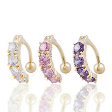 Sexy Gold Plated 18k Reverse 4 Gem Navel Bar Ring Belly Button Ring 3 Colour UK