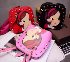 2015New Handbag Shoulder Korean Fashion Doll Rivets Shopping diagonal Schoolbag