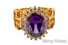 New Womens Bishop Ring, Purple Stone, Side Cross, Religious/Christian (SUBS515P)