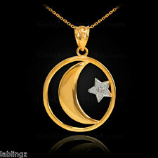 Gold Crescent Moon Diamond Star Islamic Pendant Necklace