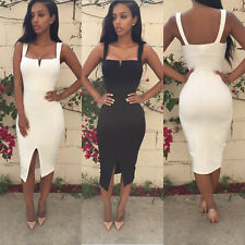 Women Sexy Sleeveless Slim Fit Bodycon Party Cocktail Evening Dress UK6-14