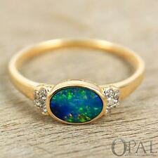 Opal & Diamond Ring 14K Gold 0.69ct  Blue, Green Oval