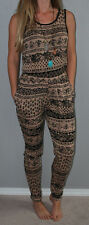 New Boho Chic Black Tan Aztec Tribal Festival Print Stretchy Slim Leg Jumpsuit