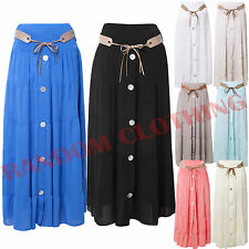 New Womens Button Front Gypsy Elasticated Belted Waist Italian Long Maxi Skirt