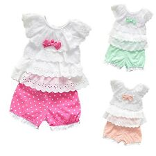 Girls Outfits Lace Tops + Shorts 2PCS Baby Girl Clothes 0000 000 00 0 1 2 FT1627