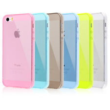 Ultra Thin Soft Silicone Gel Cover Rubber Case For Apple iPhone 5 5S + Protector