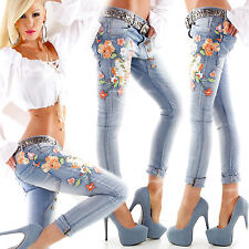 Femmes Sexy Skinny pantalon bleu broderie Mesdames push up jeans taille 6 8 10 12 S