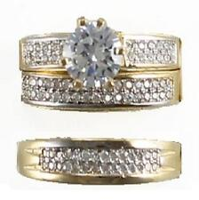 GOLD HIS & HERS 14K SOLID YELLOW GOLD ROUND CZ WEDDING RING BAND SET SIZE 5-13