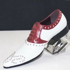 XL143 CLEVIS Men Dress Fashion Shoe White Brown Oxford